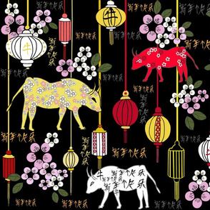 Chinese New Year of the ox-Xin-Nian-Kuai-Le-gold-red-yellow-pink-white-green-black background
