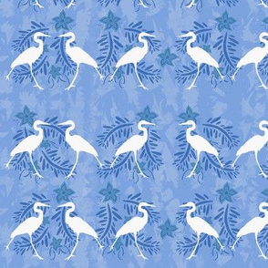 White Heron with Tropical Flowers Pattern Blue