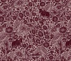 ox and florals on linen