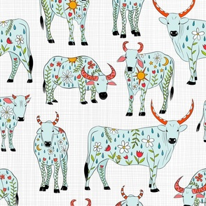 inked bovines - colorful - on gray weave