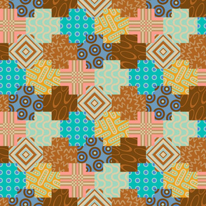 Palm Canyon - Geometric Patchwork Design - SMALL Scale - in Desert Colours of Pink Brown Turquoise Yellow Blue
