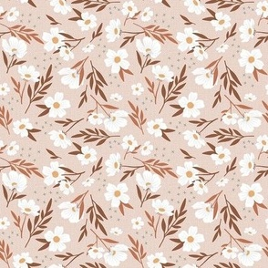 White Floral Frenzy on Blush- Small Scale