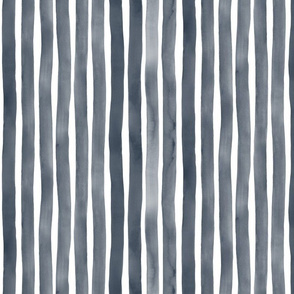 Vertical Watercolor Stripes M+M Navy Black by Friztin