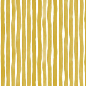 Vertical Watercolor Stripes M+M Ocher by Friztin