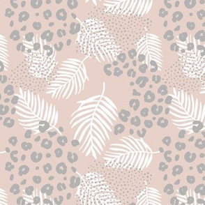 Palm leaves and animal leopard spots wild panther boho summer beige sand ultimate gray white
