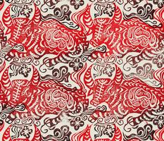 Handprinted OX red n black