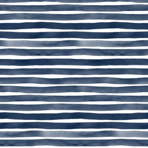 Watercolor Stripes M+M Midnight by Friztin