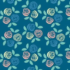 Pastel Roses in blue