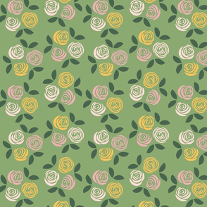 Pastel Roses in green