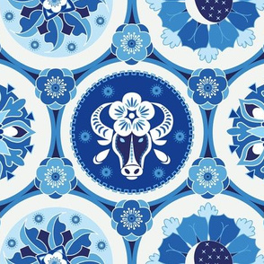 Chinese New Year of the Ox blue medium
