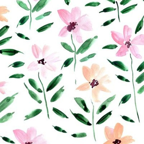 Apricot and berry watercolor bloom in Alps painted florals for modern trendy home decor bedding nursery flowers a083 -1