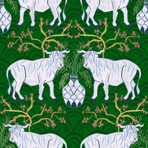 Chinoiserie Oxen in Emerald (large)