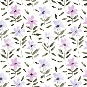 watercolor bloom in Alps painted florals for modern trendy home decor bedding nursery flowers a083 -4