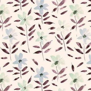 watercolor bloom in Alps on cream painted florals for modern trendy home decor bedding nursery flowers a083 -5