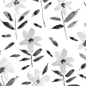Noir watercolor bloom in Alps painted florals for modern trendy home decor bedding nursery grey gray flowers a083