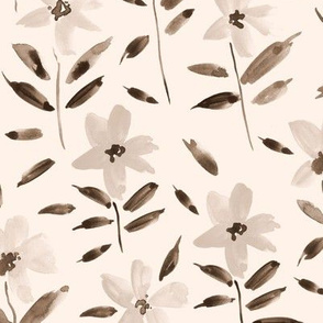 Creamy watercolor bloom in Alps painted florals for modern trendy home decor bedding nursery flowers a083 -7