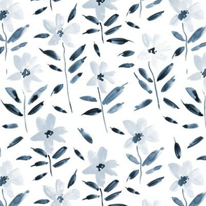 Indigo watercolor bloom in Alps painted florals for modern trendy home decor bedding nursery flowers a083 -9