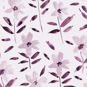 Marsala watercolor bloom in Alps painted florals for modern trendy home decor bedding nursery flowers a083 -10