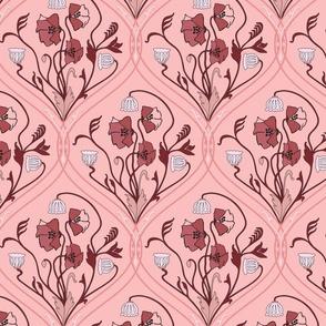 Art Nouveau Poppies-Pink-Smaller