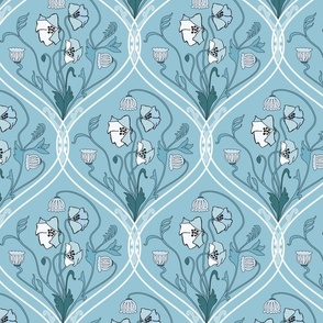 Art Nouveau Poppies-Blue and White-Smaller