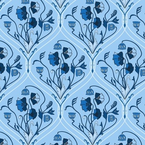 Art Nouveau Poppies-Classic Blue-Smaller