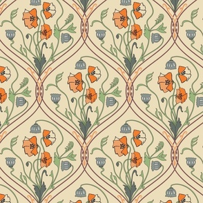 Art Nouveau Poppies-Yellow and Green-Smaller
