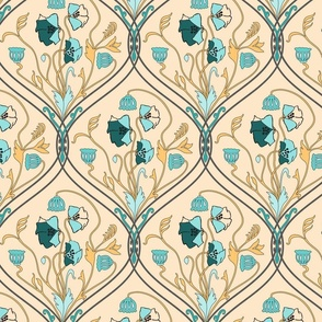 Art Nouveau Poppies-Yellow and Teal-Smaller