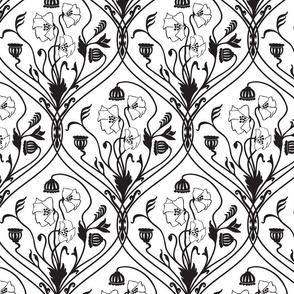 Art Nouveau Poppies-Black and White-Smaller