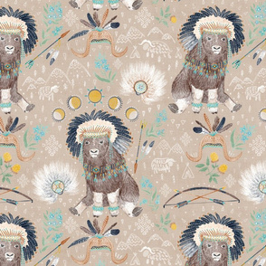 """Tribe of Musk-ox (greige) 14"""""""