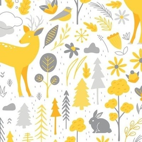 Woodland Forest Animals Deer Trees Floral  Yellow White Gray  Medium