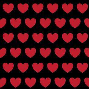 Hearts in rows - red on black