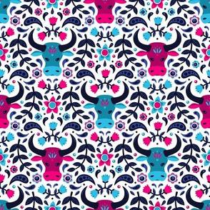 Floral Ox (Pink & Teal)