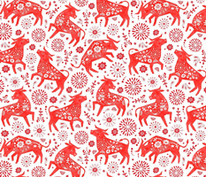 Red Flower Ox