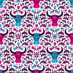 Floral Oxen (Pink, Purple & Teal)