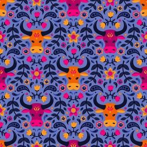 Floral Oxen (Periwinkle)