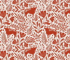 Ox in the flowers - Year of the Ox - red and cream floral - medium scale