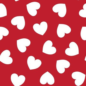 Tumbling heart pattern - white on red