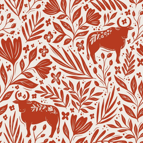 Ox in the flowers - Year of the Ox - red and cream floral - large scale