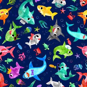 Silly Shark Family Dark Blue Sea Watercolor
