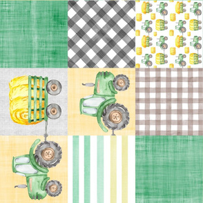 Farm Tractor Watercolor Whole Cloth Cheater Rotated
