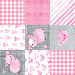 Watercolor Pig Farm Animal Cheater Wholecloth Rotated