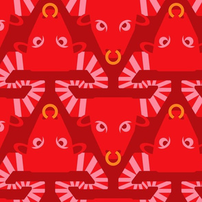 Year of the Ox Chinese New Year in Bright Red Burgundy Pink Yellow - UnBlink Studio by Jackie Tahara