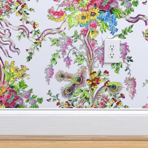 Removable Water-Activated Wallpaper Peacock Chinoiserie Rococo Ornamental Bird