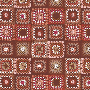 Granny square patch quilt - pink