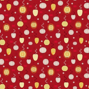 Red and Gold Chinese Lanterns Small Scale