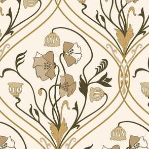 Art Nouveau Poppies-Brown and Beige