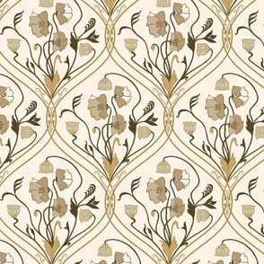 Art Nouveau Poppies-Brown and Beige-Smaller