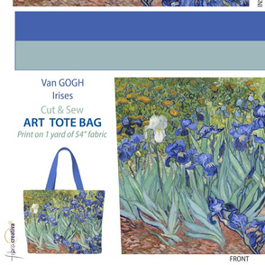 Van Gogh Irises Tote bag // Cut and sew fabric panel