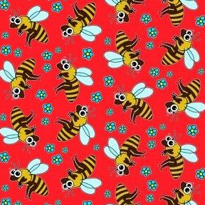 Cute Bee - on red