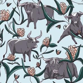Ox in garden - blue